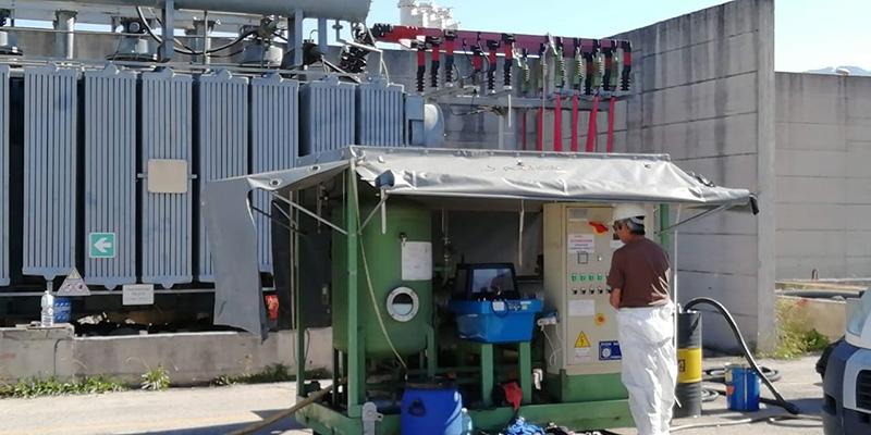 Trattamento olio trasformatore 40 MVA