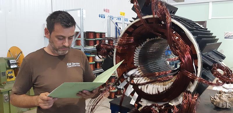 Riavvolgimento motore elettrico